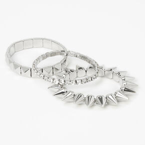 Silver Spikes Stretch Bracelets - 3 Pack,
