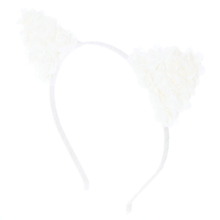 White Flower Cat Ears headband,