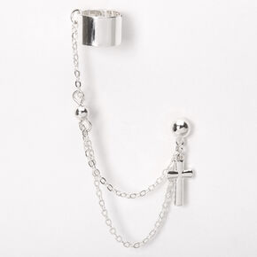 Silver Cross Cuff Connector Earring,