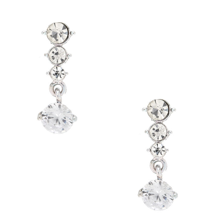 Graduated Cubic Zirconia Linear Drop Earrings,