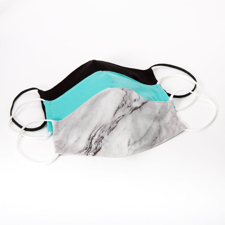3 Pack Cotton Black & Mint Marble Face Masks – Adult,