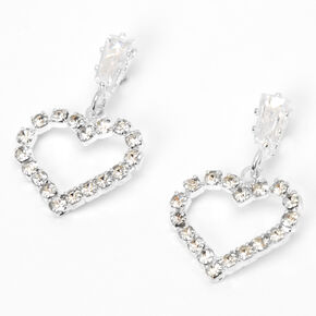 "Silver 0.5"" Rhinestone Heart Drop Earrings,"