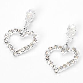 """Silver 0.5"""" Rhinestone Heart Drop Earrings,"""