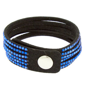 Studded Layered Wrap Bracelet - Cobalt Blue,