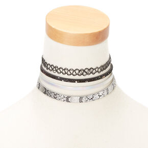 Snakeskin Shine Choker Necklaces - 4 Pack,