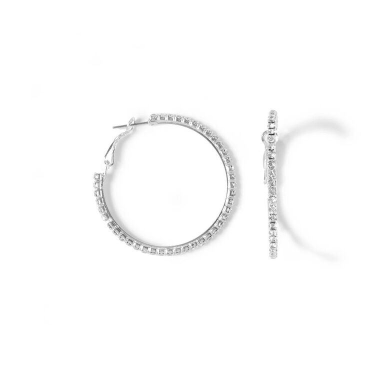 Medium Rhinestone Hoop Earrings,