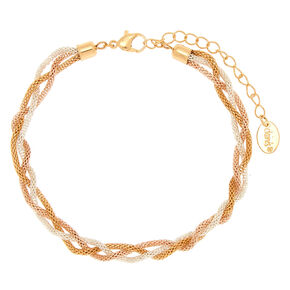 Mixed Metal Braided Anklet,