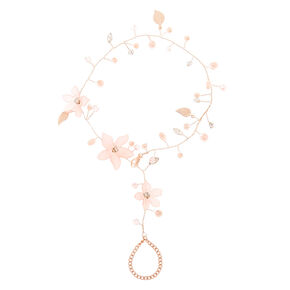 Rose Gold Frosted Flower Hand Chain - Pink,