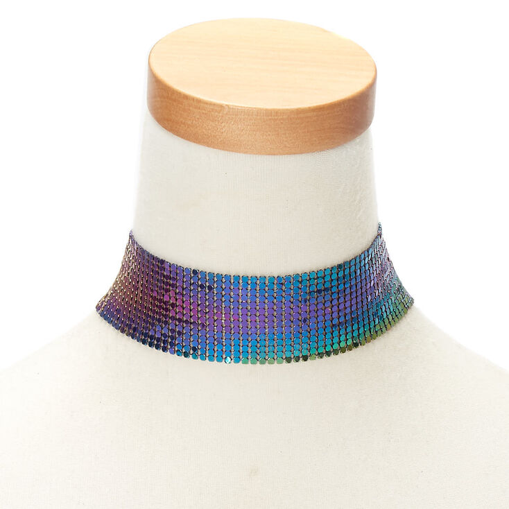Anodized Disco Mesh Choker Necklace,