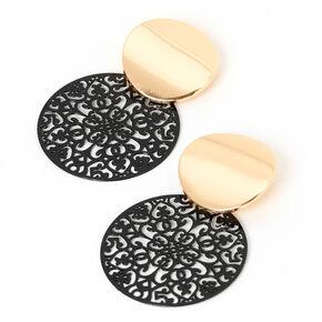 "Gold 1.5"" Round Filigree Drop Earrings - Black,"
