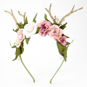 Antler Flower Crown Headband - Pink,