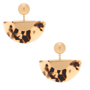 "Gold 2"" Resin Tortoiseshell Crescent Drop Earrings,"
