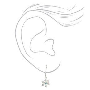 Sterling Silver Snowflake Drop Earrings - White,