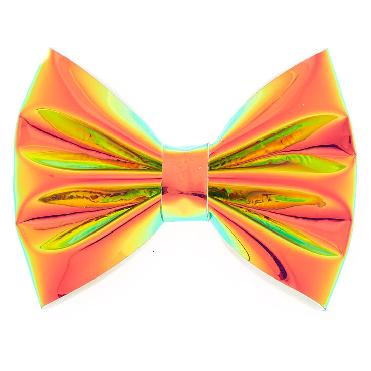 Holographic Mini Hair Bow Clip - Pink,