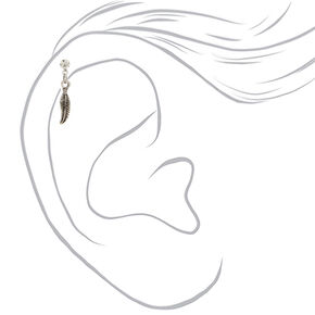 Silver 14G Feather Charm Cartilage Earring,