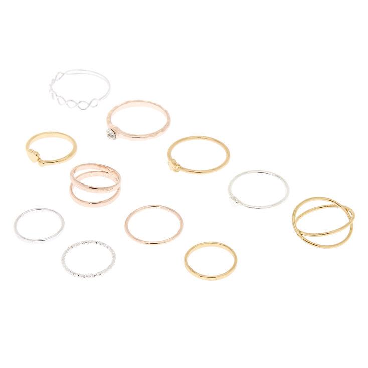 Mixed Metal Rings & Midi Rings - 10 Pack,