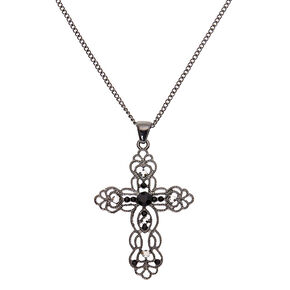 Hematite Ornate Cross Long Pendant Necklace,