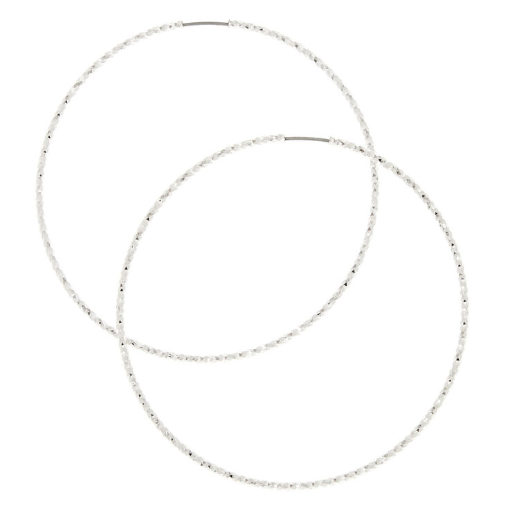 60MM Laser Cut Silver Hoop Earrings,