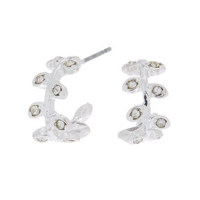Silver 10MM Crystal Leaf Hoop Earrings,
