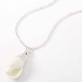 Silver Conch Shell Pendant Necklace - White,