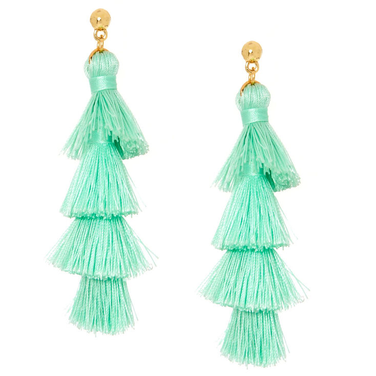 Mint Tiered Tassel Drop Earrings,