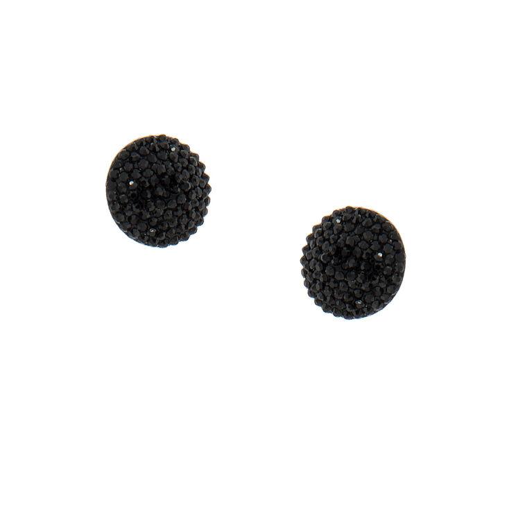 Round Black Faux Druzy Studs,