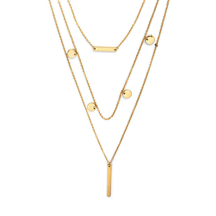 Gold Bar & Coins Multi-Strand Pendant Necklace,