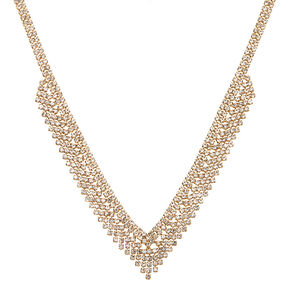 Gold Rhinestone Chevron Statement Necklace,