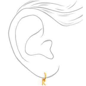 Gold 10MM Initial Charm Hoop Earrings - K,