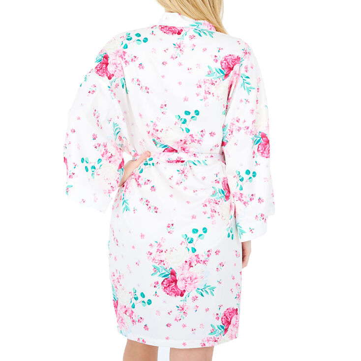 Pink Peony Floral Satin Robe - S/M,