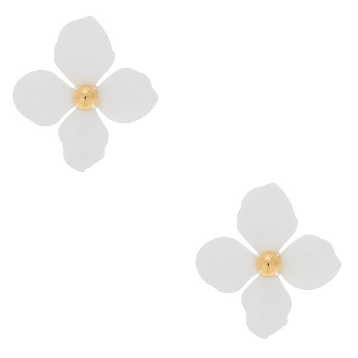 "2"" Flower Stud Earrings - White,"