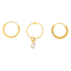 Gold 22G Stone Coil Cartilage Hoop Earrings - 3 Pack,