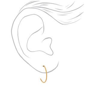 Gold Titanium 14MM Twisted Hoop Earrings,