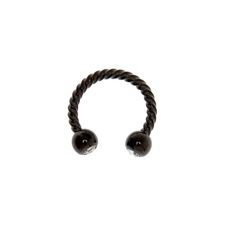 Hematite 16G Crystal Twist Horseshoe Cartilage Hoop Earring,