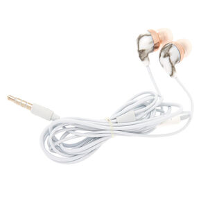 Marble Earbuds with Mic - White,