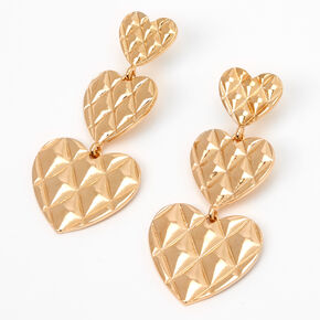 "Gold 2"" Quilted Hearts Linear Drop Earrings,"