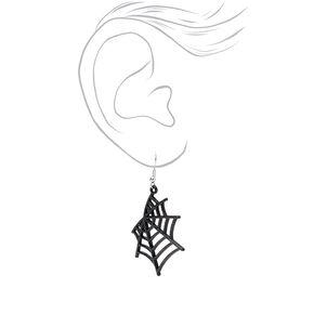 """Silver 1.5"""" Glitter Spider Web Drop Earrings - Black,"""