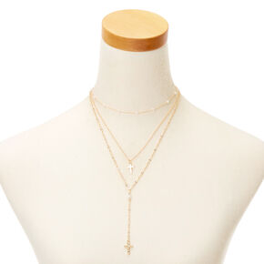 Gold Pearl Cross Multi Strand Necklace,