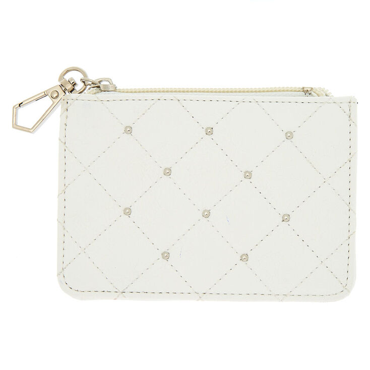 Quilted Stud Coin Purse - White,
