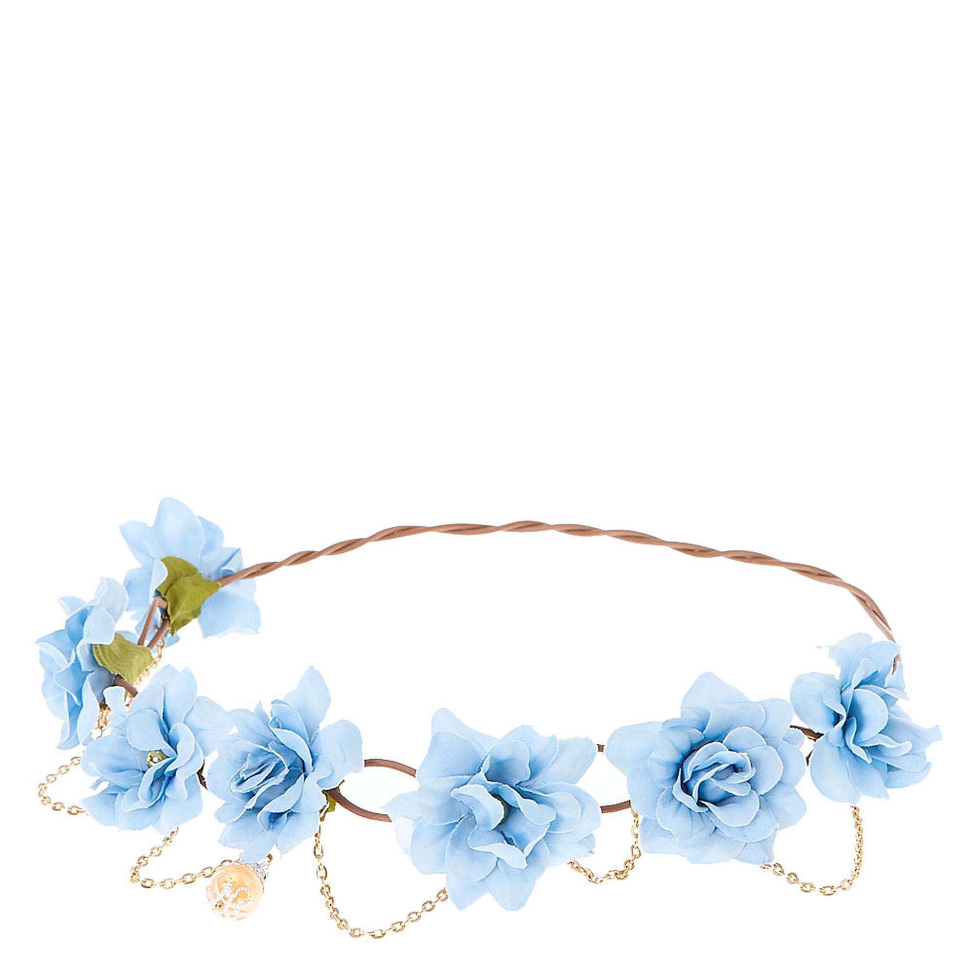 Blue Flowers Golden Chain Hair Flower Crown Icing Us