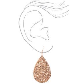 """Rose Gold 2"""" Glitter Teardrop Drop Earrings,"""