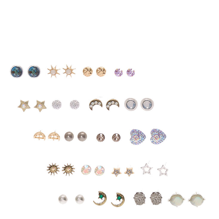 Iridescent Celestial Stud Earrings Set of 20,