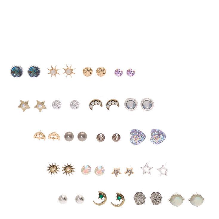 Iridescent Celestial Stud Earrings Set of 20,