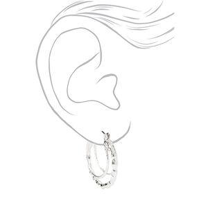 Silver 20MM Beaded Triple Hoop Earrings,