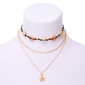Gold Cowrie Shell Multi Strand Necklace,