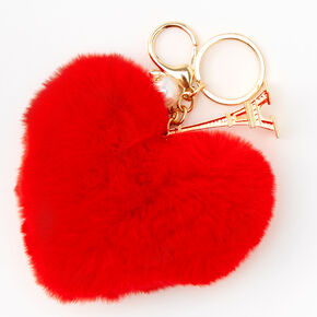 Furry Red Heart Eiffel Tower Keychain,