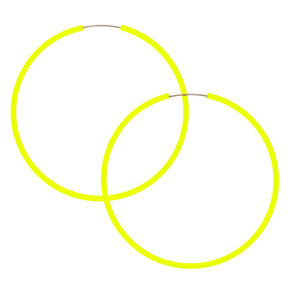 40MM Neon Hoop Earrings -  Yellow,
