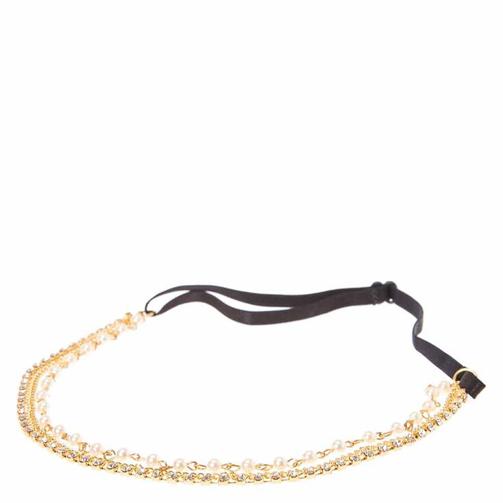 Gold Chain with Faux Pearls & Crystals Multi-chain Headwrap,