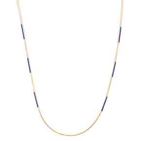 Gold Navy Blue Bar Multi Strand Necklace,