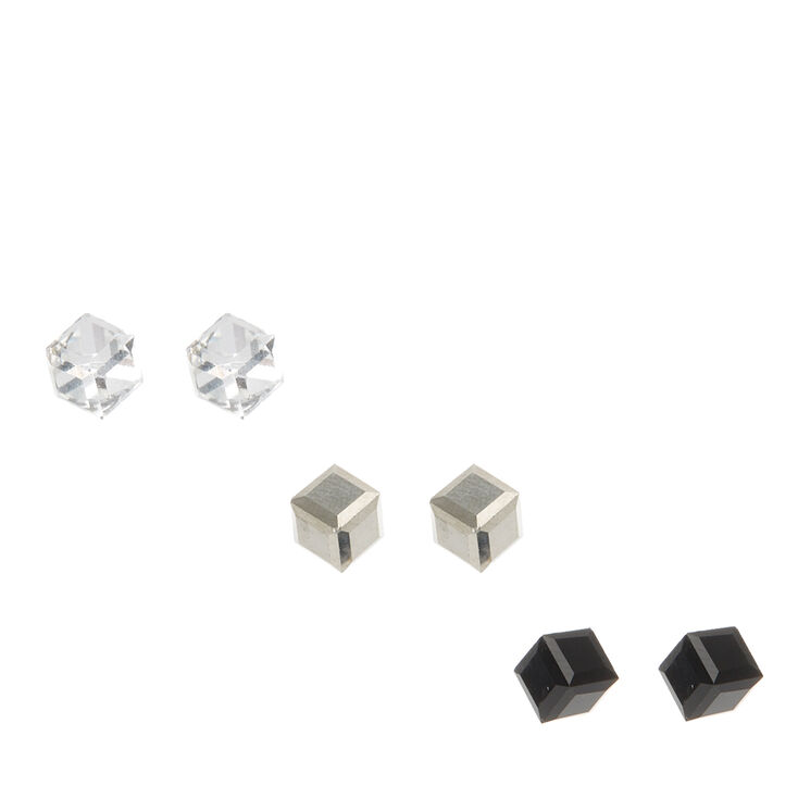 Black, Silver & Clear Cubed Stud Earrings,